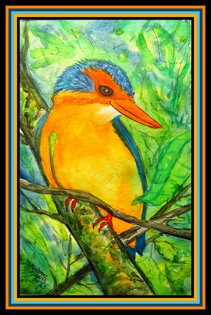 1-African Pygmy Kingfisher, 5 5x8 5, watercolor, dec 22, 2019 to Tim Cockcroft, Port Alfred, SA, mailed jan 2, 2020 IMG_5821A