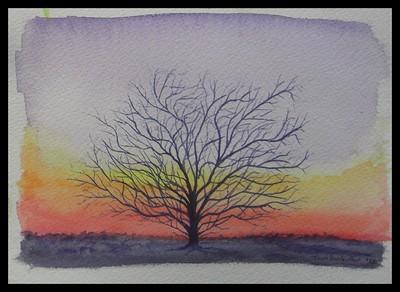 Kilcullen, Ireland - Mesquite Sunset - 4x6, watercolor, apr 9, 2012 -  adopted Lyn Worrall,  Kilcullen, County  Kildare, Ireland, apr 30, 2018. Rec'd OK