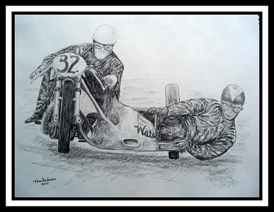Lechlade-on-Thames, Gloucestershire, England - Eric Oliver, Stan Dibben, Spa-Francorchamps, 1953. 11x14, graphite pencil, march 7, 2015 . Adopted by Stan Dibben,  Lechlade-on-Thames, Gloucestershire, England, may 14, 2017. Rec'd OK