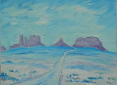Kilcullen, Ireland - Monument Valley-Winter, 6x8, oil on canvas panel, march 14, 2016 - adopted april 30, 2018, Kilcullen, Co Kildare, Ireland. Rec'd OK