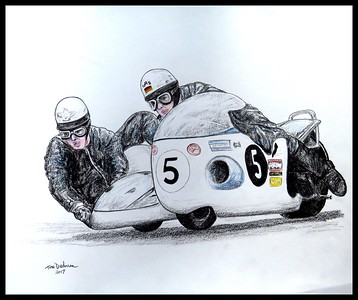 Redhill, Surrey, England - Peter Rutterford & Horst Owesle, Ulster GP, 1971,  14x17, graphite & color pencil, may 18, 2017. Adopted by Perer Rutherford,  Redhill, Surrey, UK,  May 12, 2017. Rec'd OK