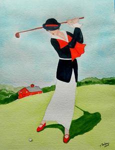 Husum, Germany - Lady Playing Westchester CC, 1920. 9x11.5, watercolor, nov 20, 2015. Gift to Angelika Schmidt-Durdaut, Husum, Germany, july 9, 2016. Rec'd OK