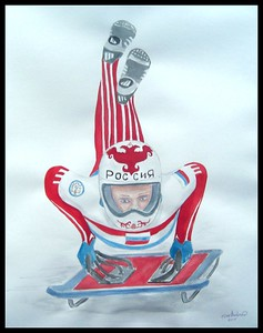 Russia - Elena Nikitina , Russia  -   Skeleton at St Moritz. 14x17, watercolor, jan 5, 2015. Gift to Ken Lawless' Father-in-Law, Russia., 1 june 2017. Rec'd OK
