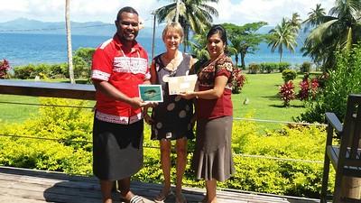 Fiji - Delia Rothnie-Jones, with George and Joshika, at Daku Resort, Savusavu, Fiji, nov 17, 2018.