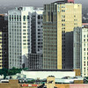 Detroit buildings Aerial View