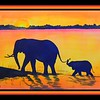Mother and Child - Elephants on the Chobe River, Botswana, 10x14, watercolor, march 30, 2016 DSCN0287a