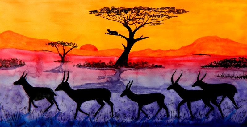 Springboks Sunset, 12x23, watercolor, june 3, 2017 DSCN00491