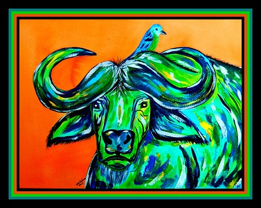 1-Cape Buffalo, 12x16, gouache & watercolor, sep 26, 2017 DSCN99851