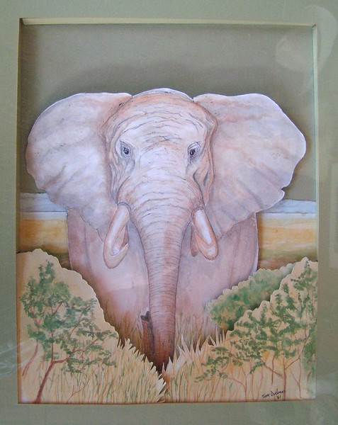 1981 African Elephant, water color & pen construction, 10x13