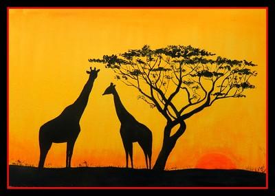 1A-Giraffe Sunset, 10x14, watercolor, march 29, 2016 DSCN0280