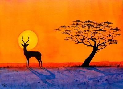 1-Impala Sunset, 10x14, watercolor, march 31, 2016 DSCN0316