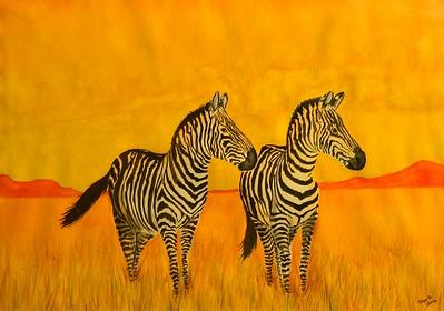 1-Zebras Pair, 11x15, watercolor, april 5, 2016 DSCN0399
