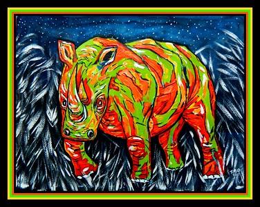 1-Night Rhino, 12x16, mixed media, oct 6, 2017 DSCN00181