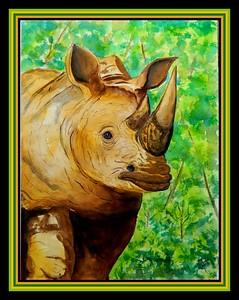 1-White Rhino, Hluhluwe-Imfolozi Game Refuge, Kwazulu-Natal, South Africa, oct 3, 2016 - 12x16, watercolor, sep 23, 2017  DSCN99671