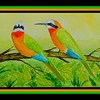 1-White-fronted Bee-eaters, 6x9, watercolor, june 2, 2017 DSCN00481