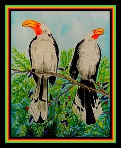 1-Yellow-billed Hornbills, Kruger Nat Pk, SA, oct 5,2016  12x18, watercolor, may 20, 2017 DSCN00101