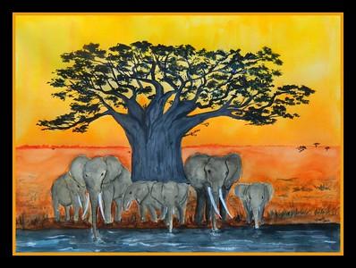 1-Baobab Sunset, 11x15, watercolor, april 7, 2016 DSCN0405A