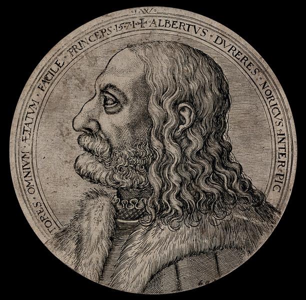 Albrecht Dürer in profile. Etching, 1571.