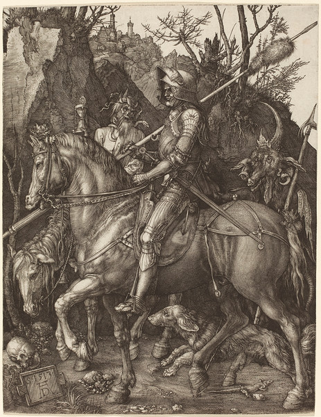 Albrecht Dürer (German, 1471 - 1528 ), Knight, Death and Devil, 1513, engraving on laid paper