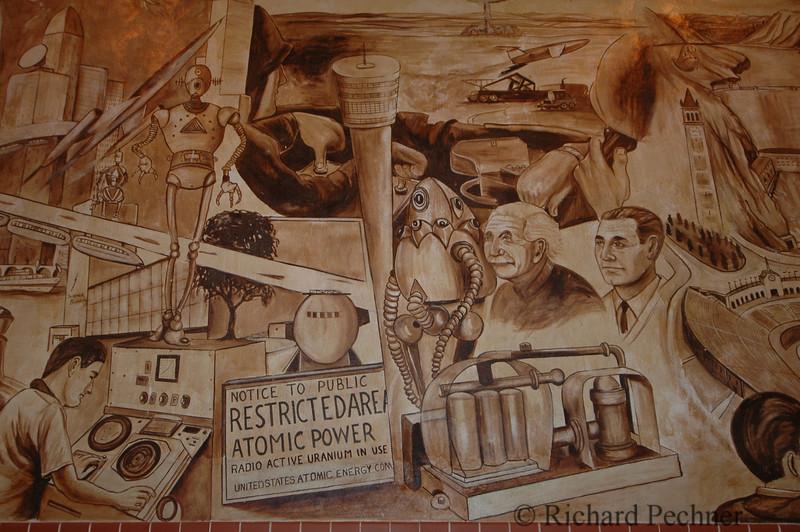 mural panel, California history by Alfredo Santos
