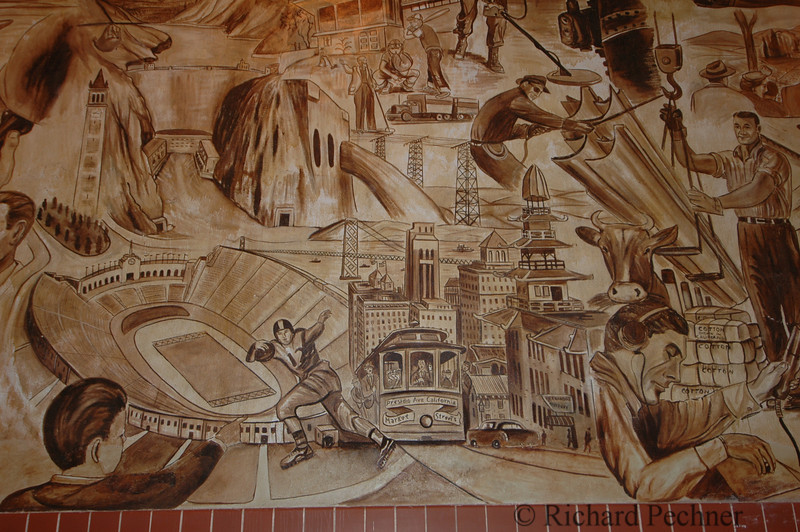 mural panel, California history by Alfredo Santos