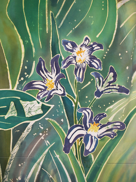 """Tulips and Pushkinia"" © Anna Lisa Yoder 1994.  Batik painted process on muslin. (6 X 8 ft.) Detail."