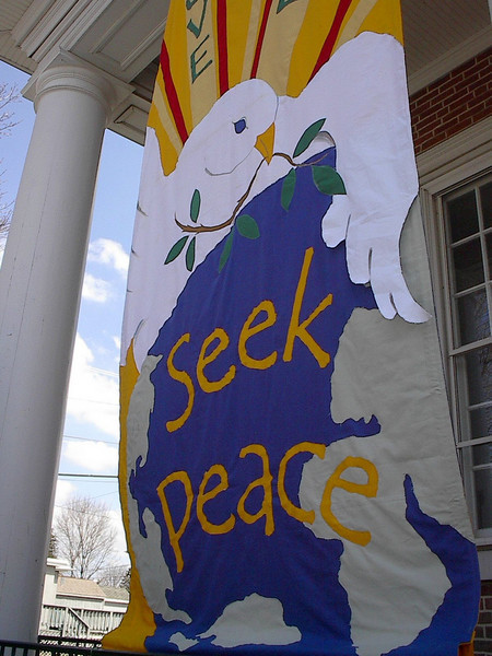 """""""Love Life, Seek Peace"""" banner made by Mary Lou Cummings & me, 2003 .  Detail."""