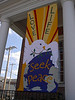 """""""Love Life, Seek Peace"""" banner made by Mary Lou Cummings & me for Perkasie Mennonite Church, 2003.  Response to war in Iraq, after Phila. Peace March."""