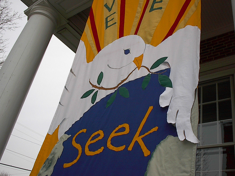 """""""Love Life, Seek Peace"""" banner made by Mary Lou Cummings & me, 2003 ---   Detail"""