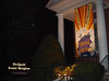 """""""Love Life, Seek Peace"""" banner made by Mary Lou Cummings & me, 2003 . Night view."""