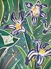 """Tulips and Pushkinia"" © Anna Lisa Yoder 1994.  Batik painted process on muslin. (6 X 8 ft.) .  Detail."