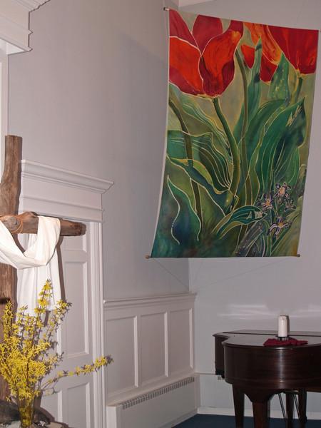 """Tulip & Pushkinia"" batik in meetingroom, Easter-- Perkasie Mennonite Church ""Tulips and Pushkinia"" © Anna Lisa Yoder 1994.  Batik painted process on muslin. (6 X 8 ft.)"