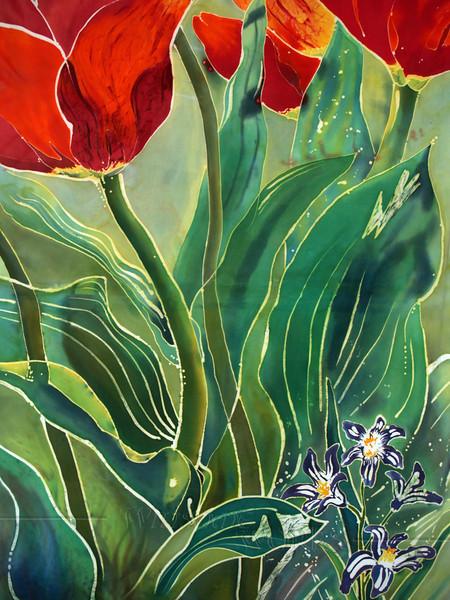 "Detail of ""Tulips and Pushkinia"" © Anna Lisa Yoder 1994.  Batik painted process on muslin. (6 X 8 ft.)"