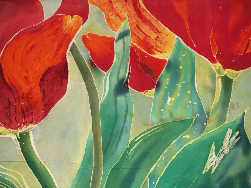 "detail of ""Tulips and Pushkinia"", © Anna Lisa Yoder 1995. Batik painted process on muslin. 6 X 8 ft."
