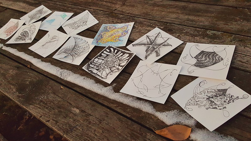 Some of my Zentangle-based stars (loosely based on Star of David shape)