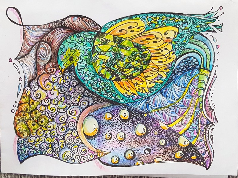 Pen & ink & colored pencil drawing (orig. 4x6 in.)