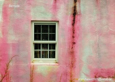 Window on the pink wall