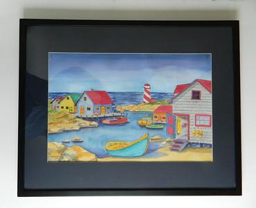 44 Safe Harbor, Nova Scotia - watercolor, 14x21. $500