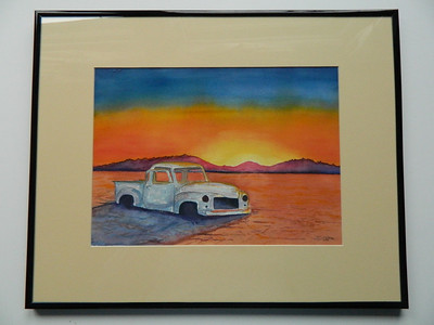 33 Salt Flat Pickup, Nevada - watercolor, 10x14. NFS