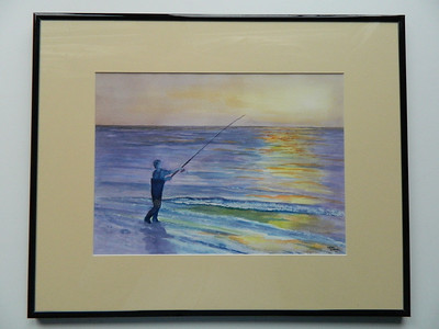 24 Surf Fishing for Blues, Cape Cod - watercolor, 10x14. NFS