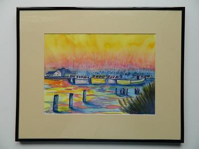7 Shrimp Boats, Bayou La Batre, Alabama - watercolor, 10x14. $200