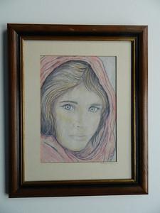 11 Afghan Girl - color pencil, 11x7. NFS