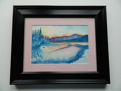 18 Second Pond Sunrise - watercolor, 7x10. $100