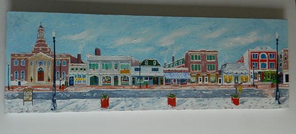 39 Main Street Christmas - oil, 12x36. $650