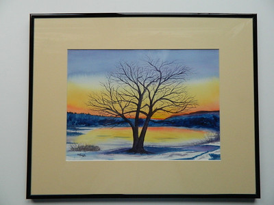 28 Winter Sunset on the Saranac River - watercolor, 10x14. $200