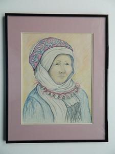 23 Uzbek Woman - color pencil, 12x15. NFS