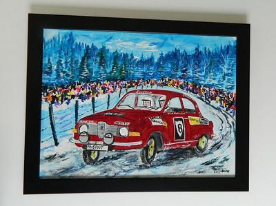 43 Winter Rally - Stig Blomquist Winning in Sweden, 1971 - acrylic, 12x16. NFS
