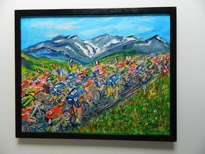40 Tour de France - Climbing Col du Galibier - oil & acrylic,16x20. $300