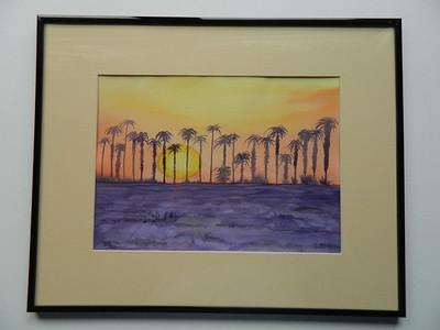 35 Sunset Palms, Yuma, Arizona - watercolor, 10x14. $200