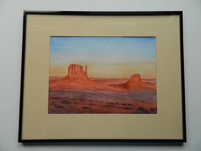 32 The Mitten Buttes, Monument Valley, Arizona - watercolor, 10x14. NFS